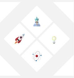 Flat science set of orbit spaceship lightbulb vector
