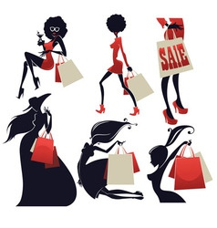 girls and shopping bags vector image vector image