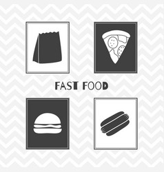 Hand drawn silhouettes fast food posters vector