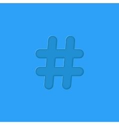 Hashtag embossed on blue background vector