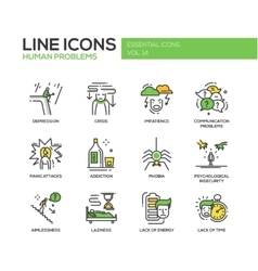 Human psychological problems- line design icons vector image vector image