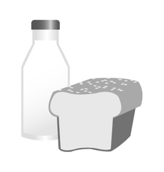 Isolated milk and bread design vector