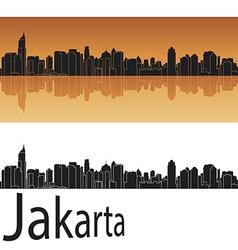 Jakarta skyline in orange background vector