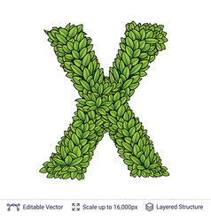 Letter x symbol of green leaves vector