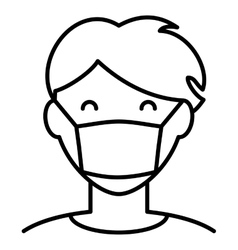 Man in hygiene face mask icon vector