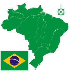 Map of brazil and flag vector