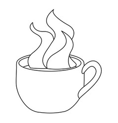 monochrome contour with hot cup of coffee close up vector image vector image