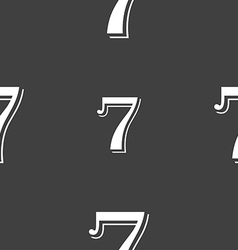 Number seven icon sign seamless pattern on a gray vector