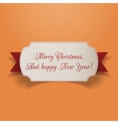 Realistic Christmas greeting Card and red Ribbon vector image vector image