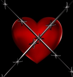 Red heart and wire vector