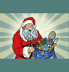 Santa claus with bag of toys vector