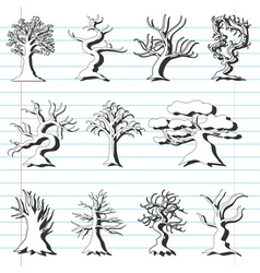 set of 11 decorative trees vector image vector image
