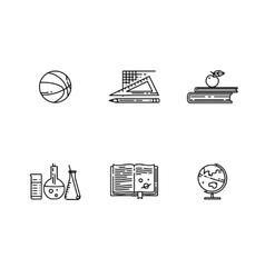 Set of school flat line icon vector image