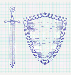 Shield with sword blue hand drawn sketch on vector