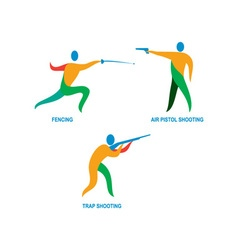 Shooting and fencing sport icon vector