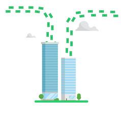 skyscrapers finance center concept money flows vector image