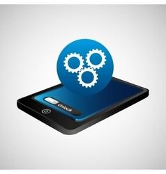 Smartphone blue screen unlock team work vector