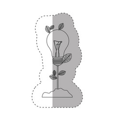 sticker with grayscale contour with plant stem vector image