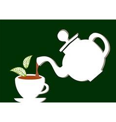 Teapot serving a cup of tea vector