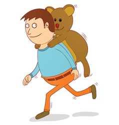 teddy on my back vector image vector image