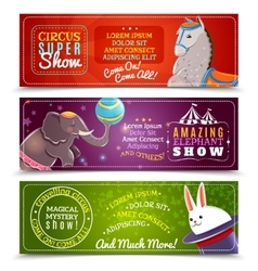 Travelling circus flat horizontal banners set vector image vector image