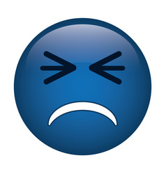 unhappy face emoticon funny icon vector image