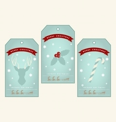 Vintage christmas gift tags with deer holly and vector