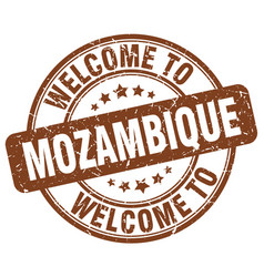 Welcome to mozambique brown round vintage stamp vector