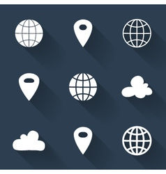 White map pin icons over blue vector image