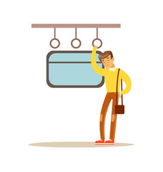 Young man sleeping in the train vector