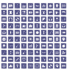 100 musical education icons set grunge sapphire vector