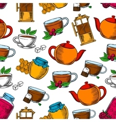 Tea time coffee and desserts background vector