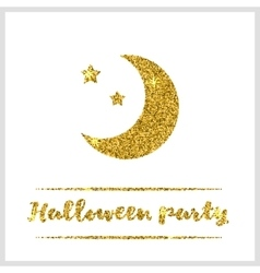 Halloween gold textured moon icon vector