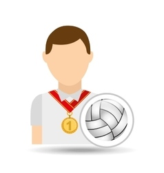 Athlete medal volley ball icon graphic vector