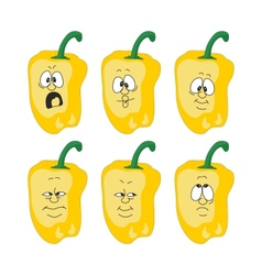 Emotion cartoon yellow pepper vegetables set 003 vector