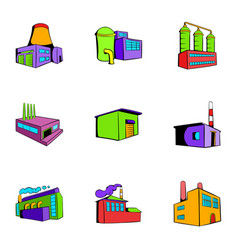 Manufacture icons set cartoon style vector
