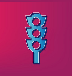 Traffic light sign  blue 3d printed icon vector