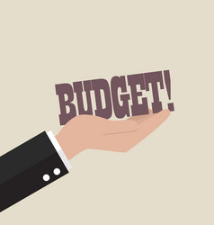big hand holding budget word vector image