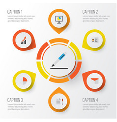 Job flat icons set collection of increasing pen vector