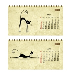 Calendar 2014 with black cats on grunge paper may vector
