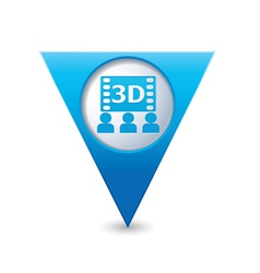 3d cinema icon pointer blue vector image