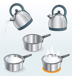 Kettles and pots 1 vector