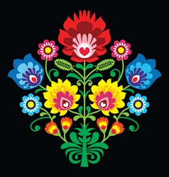 Polish folk embroidery with flowers pattern vector image