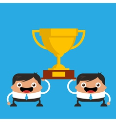 Business men holding giant trophy vector