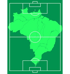 Map of Brazil on soccer field vector image
