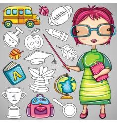 school doodle icons vector image