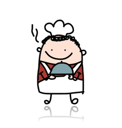 Funny chief cook with plate of food sketch vector
