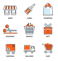 Set of shopping and retail outline icons vector