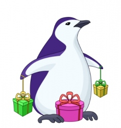 Penguin with gift boxes vector