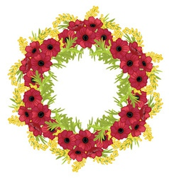 Frame of flowers arranged in a circle vector